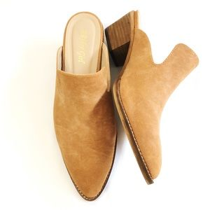 A Rider Girl Tan Low Heeled Mule Size 9
